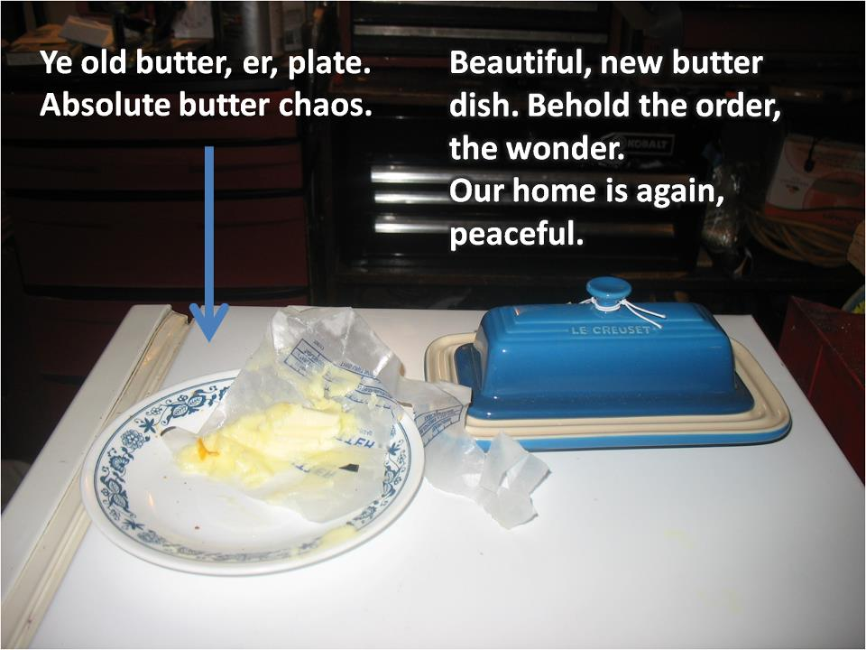 Behold, the butter dish, in all its Williams Sonoma splendor!