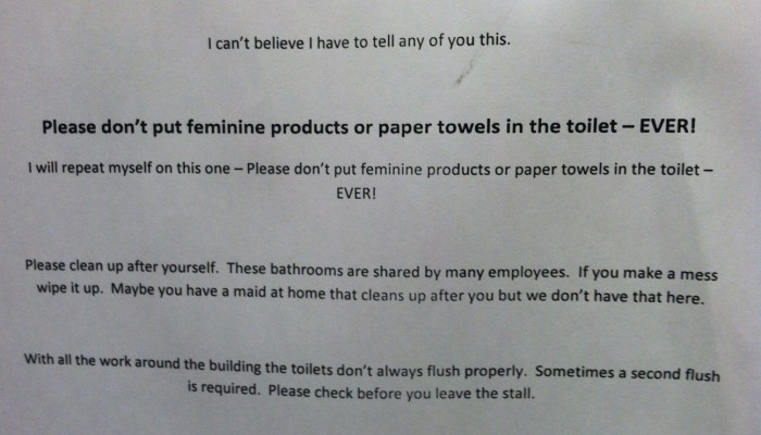 sample memo to staff about toilet cleanliness Ladies Bathroom Etiquette | The Story from the Stalls