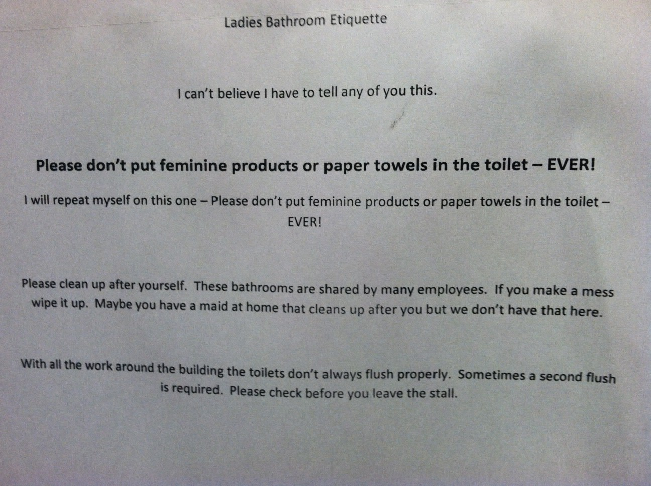 Ladies Bathroom Etiquette